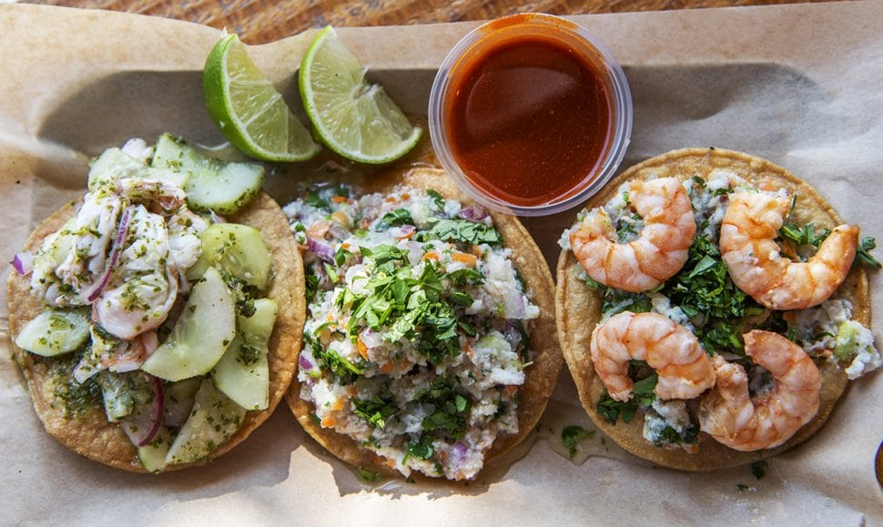 Ceviche 3 ways at Aguas Way restaurant in North Long Beach. Photo by Thomas R. Cordova.