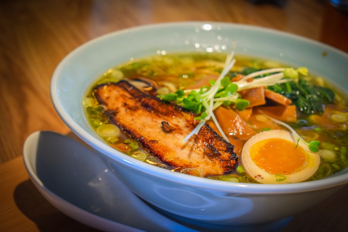 HiroNori Craft Ramen, located in Long Beach's Bixby Knolls neighborhood, and their bowl of Hakata-style ramen. Photo by Brian Addison.
