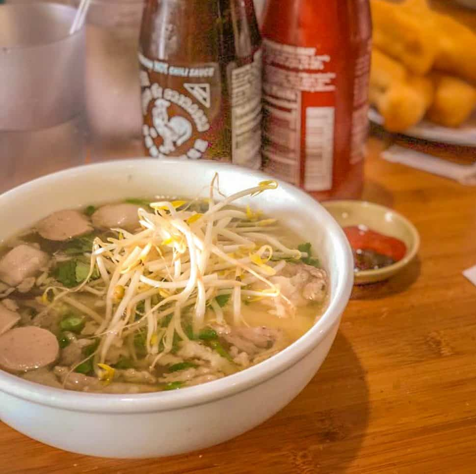 Phở Hông Phát's combo #10, Pho Tai Gan Xach with meatballs added. Photo by Brian Addison.