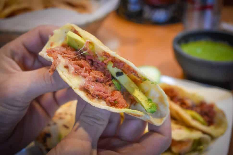 The smoked marlin taco from Cheko el Rey del Sarandeado. Photo by Brian Addison.