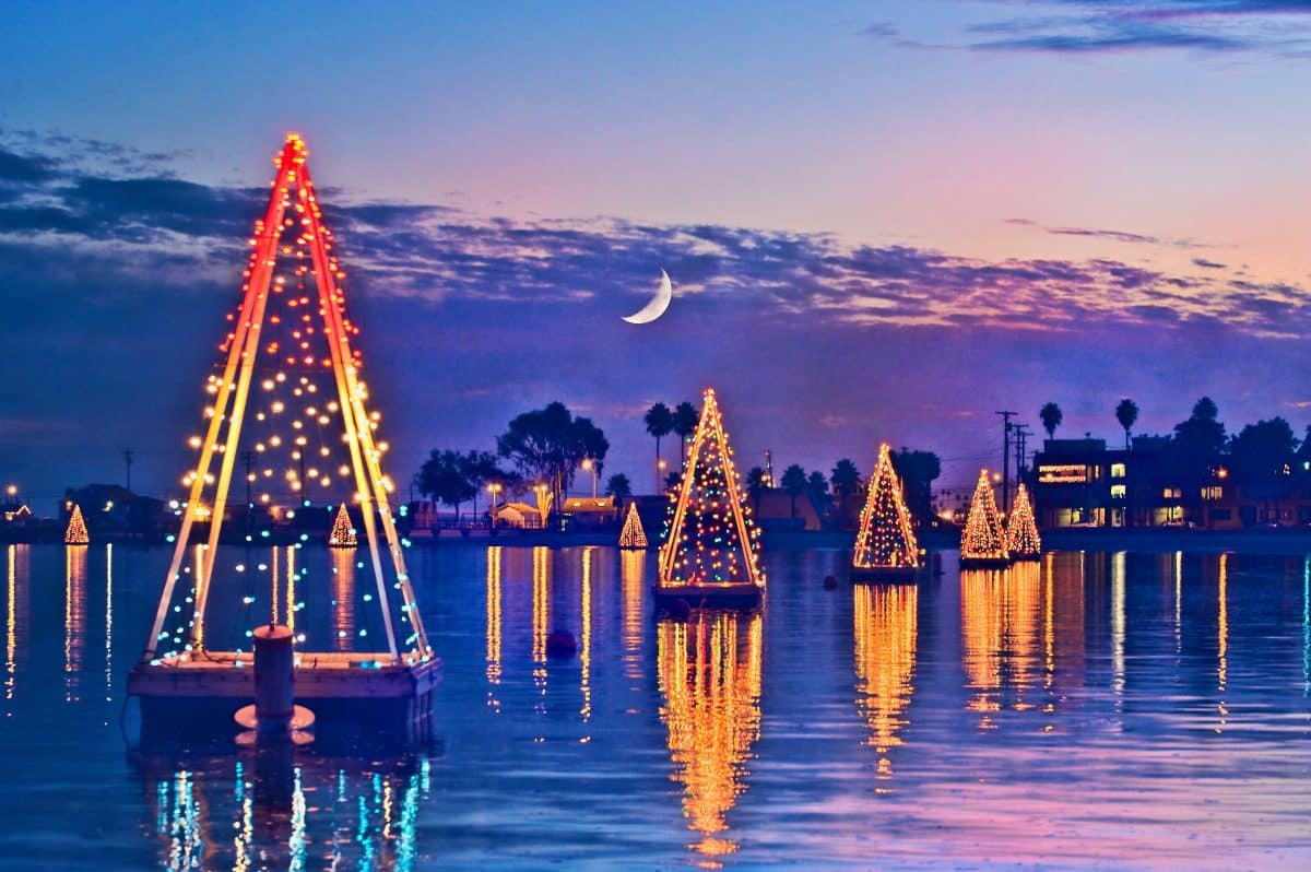 Wooden Christmas trees on Alamitos Bay lets folks know they are about to enter the wonderland that is Naples during the holidays.