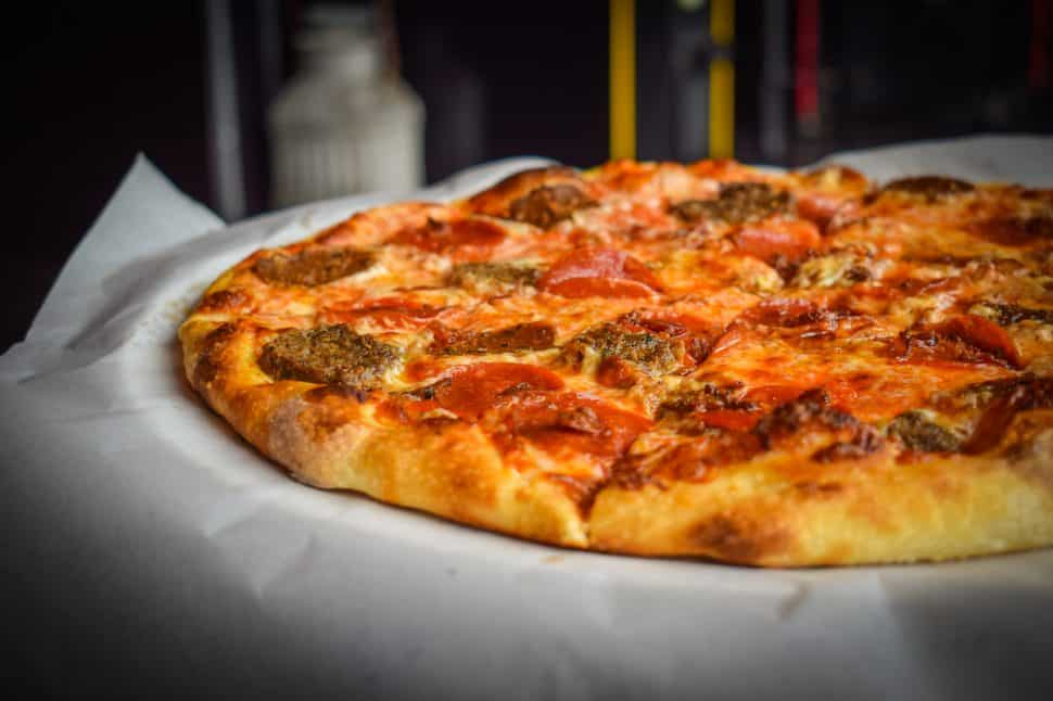 4th Horseman's Death to Piggy pizza topped with Italian sausage, meatball, pepperoni, and bacon. Photo by Brian Addison.