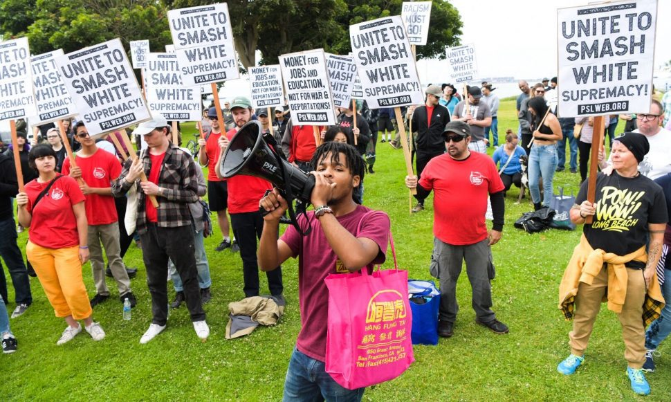 Kameron Hurt, a student at USC, leads counter-protestors in a rally opposing white nationalism at Bluff Park. Photo by Thomas R Cordova.