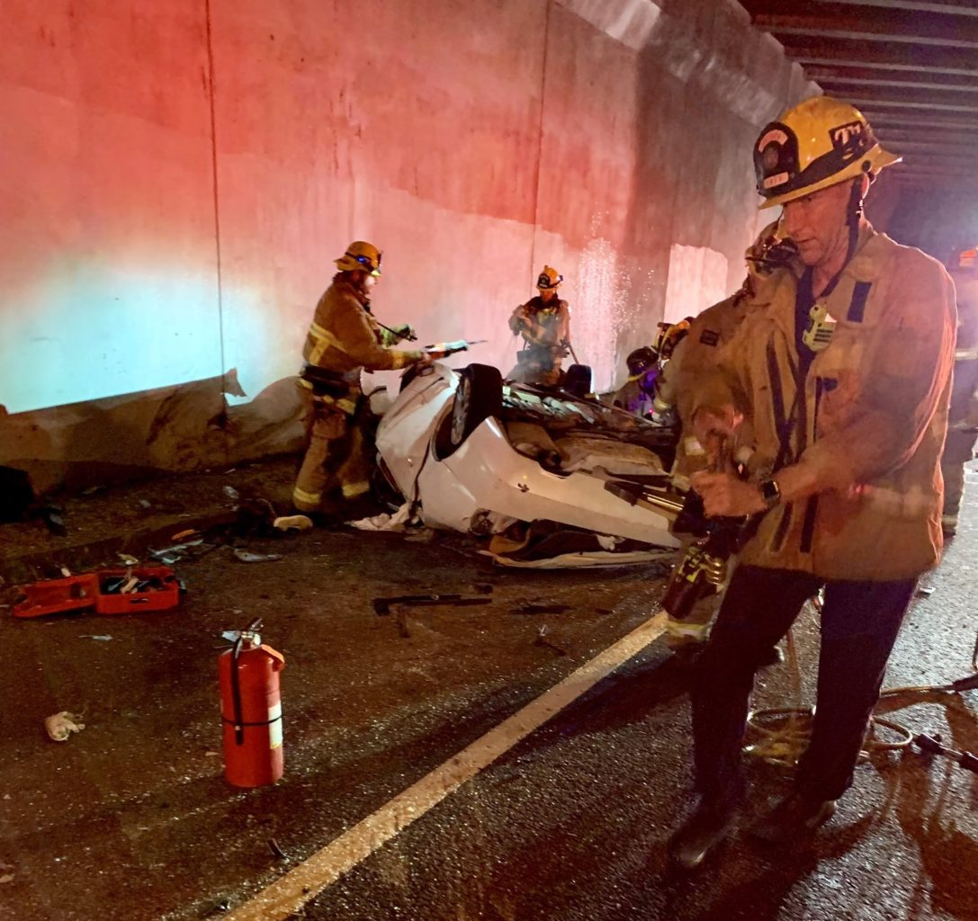 The aftermath of a crash on the 710 Freeway as it passes under the 91 Freeway. Photo courtesy the LBFD.