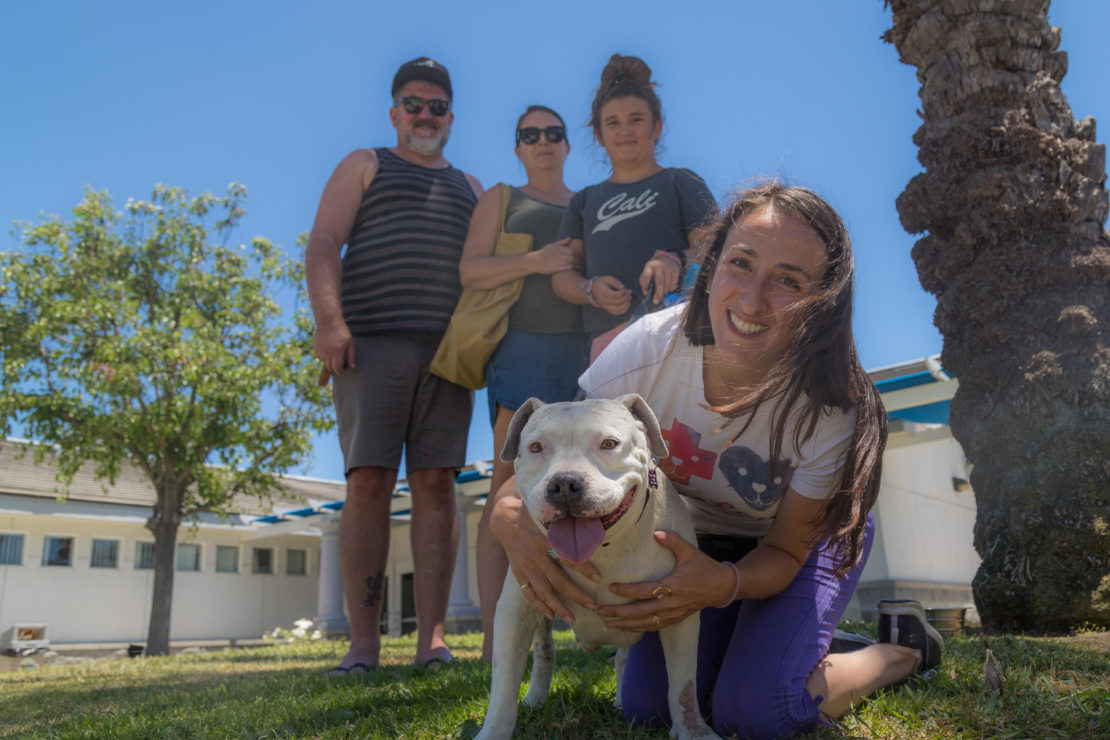 a white pit bull mix poses with smiling woman with long brown hair. Three people stand in the background near trees and an outbilidng.