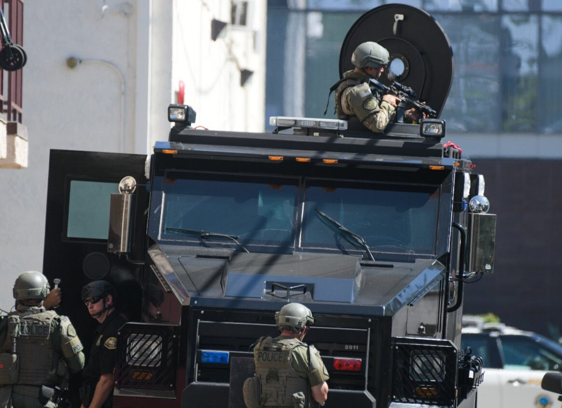 SWAT officers near the courthouse in Long Beach Thursday, July 11, 2019. Photo by Thomas R. Cordova.