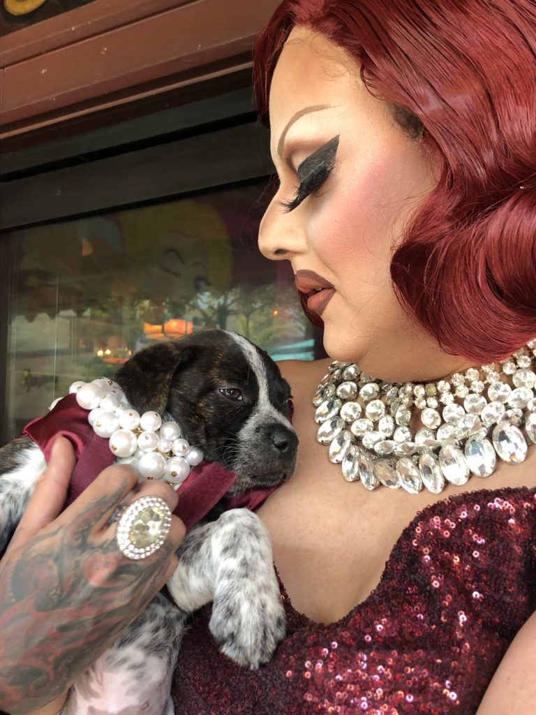 Drag performer with bright-red hair and an ornate silver necklacepearls holds an English-bulldog mix wearing pearls.