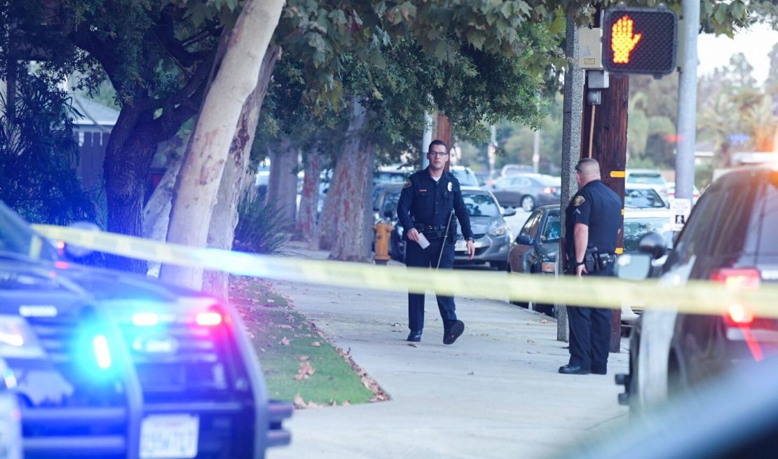 Police had cordoned off the shooting scene in Bixby Knolls. Photo by Thomas R. Cordova.