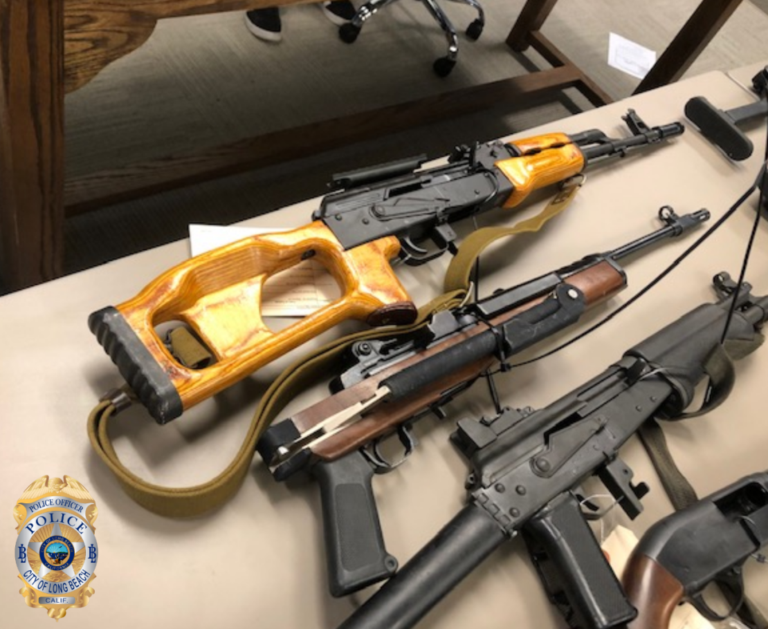 Long Beach police said they've put an extra emphasis on taking guns from people who shouldn't have them, including these seized in Whittier on Nov. 19, 2019. Photo courtesy the LBPD.