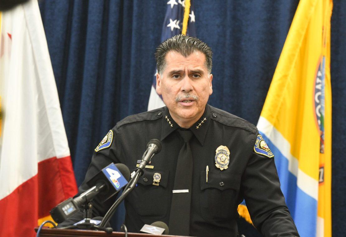 LBPD Chief Robert Luna announcing a sweeping gang raid on Feb. 14, 2020. Photo by Thomas R. Cordova.