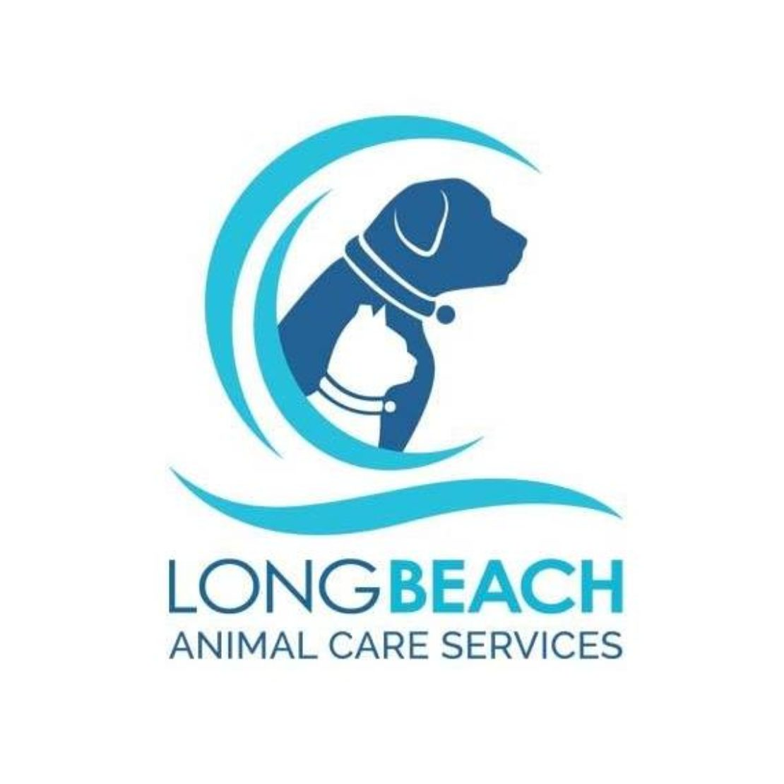 dark-blue, light-blue and white Long Beach Animal Care Services logo, with a large blue dog and a small white cat with ear tip. Both pets have collars