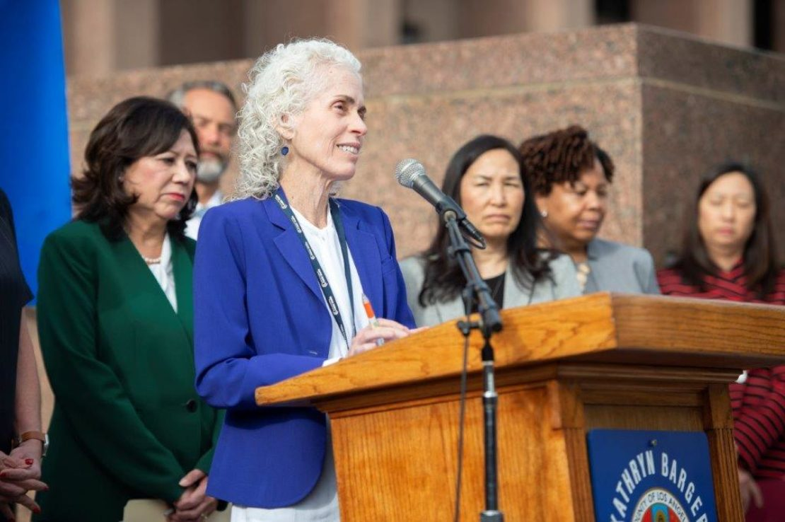 LA County Public Health Director Dr. Barbara Ferrer speaking about LA County's emergency declaration in response to COVID-19 on Wednesday, March 4, 2020. Photo courtesy LA County.