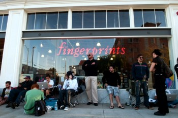 a4950194b Foo Fighters fans at the front of the line outside Fingerprints Record  Store patiently wait Monday to secure free tickets in the form of  wristbands to an ...