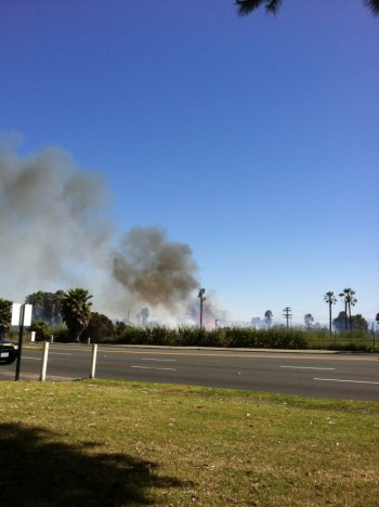 UPDATE WITH PHOTO: Fire Shuts Down Intersection of PCH, 2nd