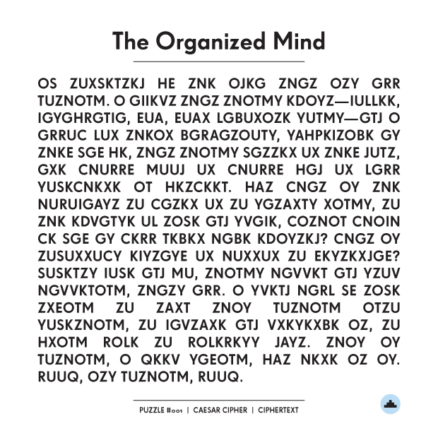 The Organized Mind: Caesar Cipher • the Hi-lo