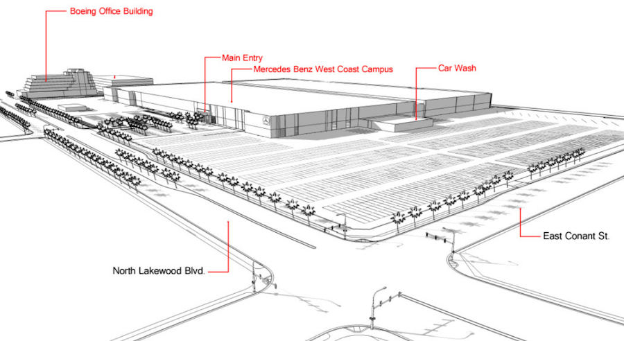 Mercedes benz usa breaks ground on massive new facility at for Long beach mercedes benz dealer