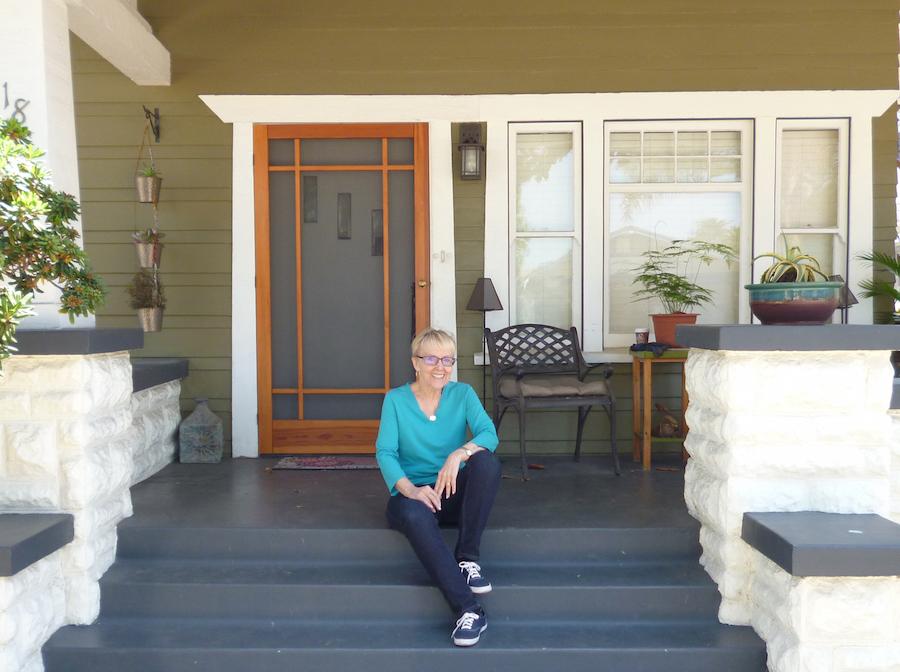 Allene Symons on porch