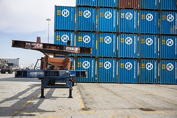 chassis and hanjin containers