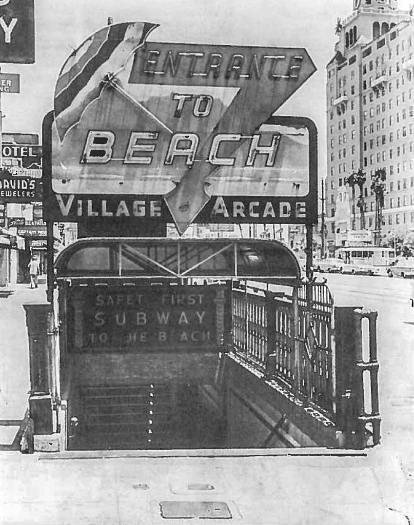 An old photo captures the now non-existent entrance into the Jergins Tunnel in Downtown Long Beach.