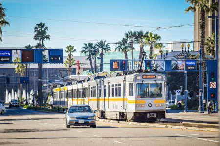 Metro Los Angeles' Blue Line light rail passes through DTLB on its way to the transit mall. Photo by Brian Addison.