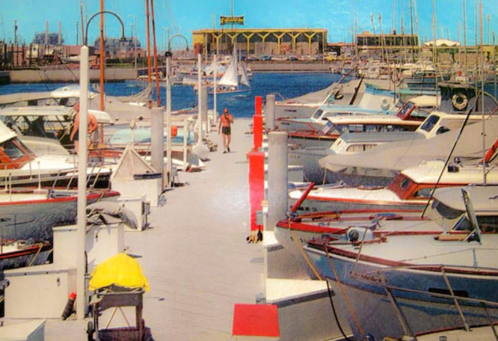 A postcard from the mid-1960s shows the Alamitos Bay marina and the Edgewater Inn.