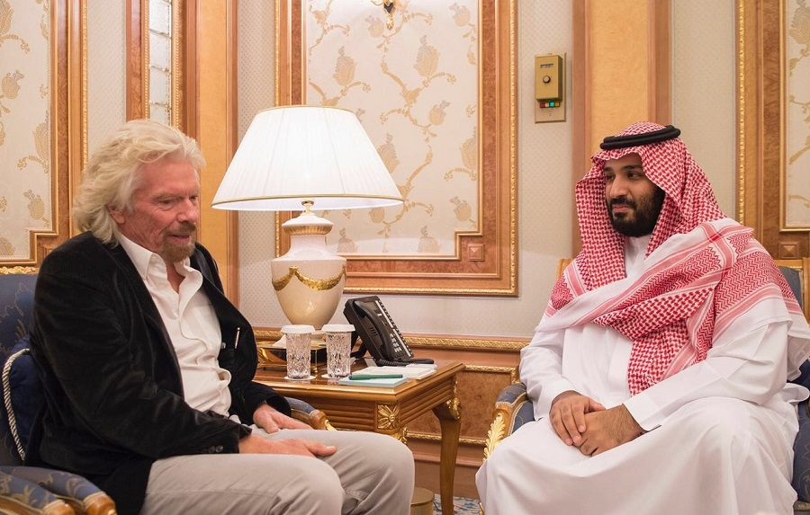 HRH Crown Prince Mohammad bin Salman Al-Saud and Sir Richard Branson - Saudi Press Agency 261017