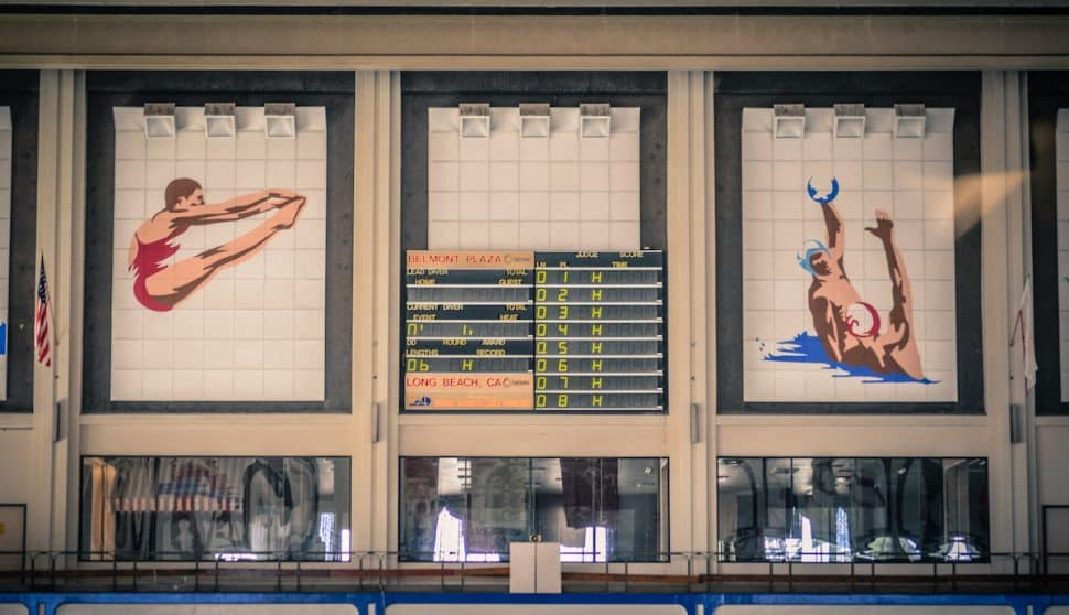 The interior scoreboard of the former Belmont Plaza Olympic Pool. Photo by Brian Addison.