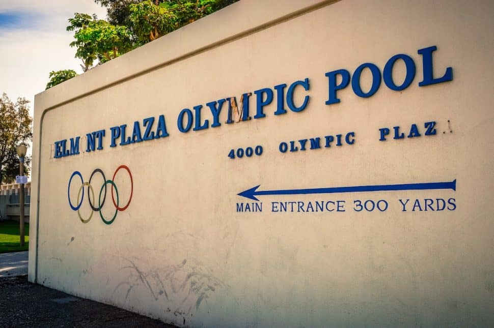 Now demolished, this was the welcome sign for the Belmont Plaza Olympic Pool. Photo by Brian Addison.