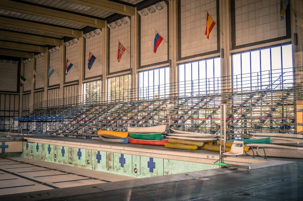 The interior of the former Belmont Plaza Olympic Pool. Photo by Brian Addison.
