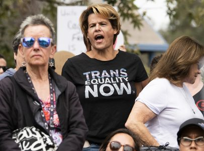 Actress Alexandra Billings join thousands in protest of Trumps zero tolerance policy as they marched from Cesar E. Chavez Park to Glenn Anderson Federal Building in Long Beach June 30, 2018. Photo by Thomas R Cordova