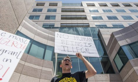 Jacob Ingram, of Long Beach, joins thousands in protest of Trumps zero tolerance policy in front of the Glenn Anderson Federal Building in Long Beach June 30, 2018. Photo by Thomas R Cordova