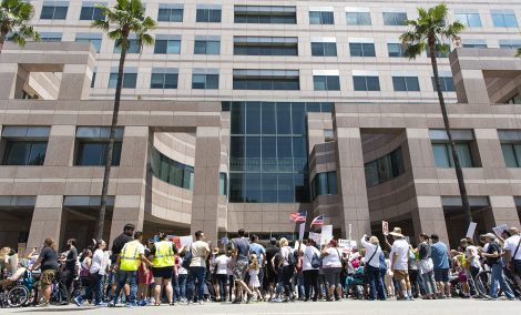 Thousands show up in protest of Trumps zero tolerance policy as they marched from Cesar E. Chavez Park to Glenn Anderson Federal Building in Long Beach June 30, 2018. Photo by Thomas R Cordova