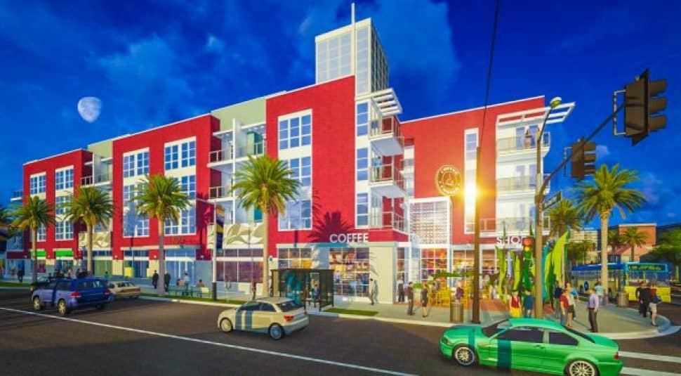 The Las Ventanas affordable housing development in Long Beach. Rendering courtesy of William Hezmalhalch Architects.