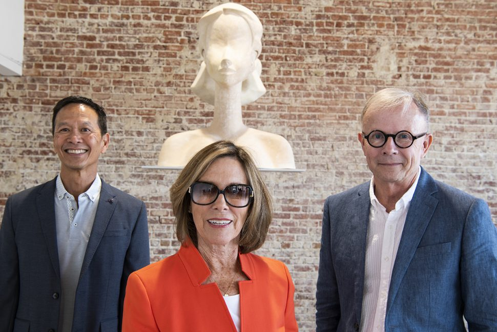 Jay Hong, left, Barbara Wilde, center and  Ron Nelson, right as the nonprofit ARTX merging with the Long Beach Museum of Art Foundation to become LBMAx in Long Beach July 27, 2018. Photo by Thomas R Cordova