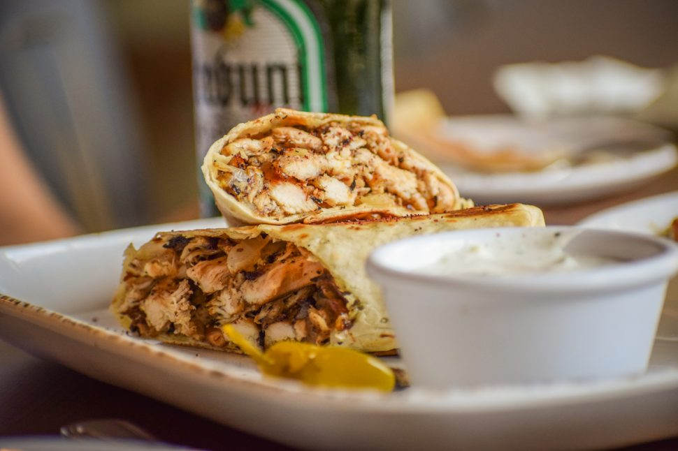 Downtown Long Beach's Ammatolí offers Middle Eastern food; this is its chicken roll. Photo by Brian Addison.