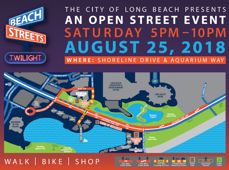 A map for the Beach Streets event along the shoreline. Courtesy of the City of Long Beach.