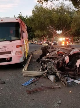 Four people were injured, one critically, in a crash in East Long Beach Saturday night. Photo courtesy of Brian Meckelborg.