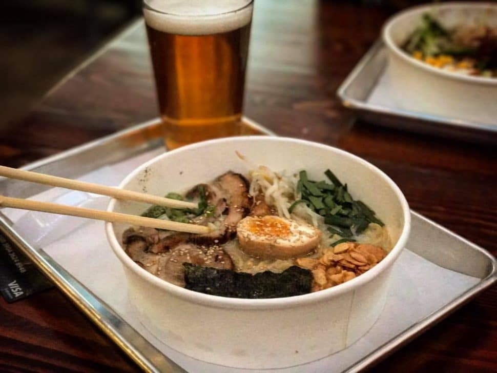 A bowl of ramen form Tajima Ramen, located in the SteelCraft hub of Long Beach's Bixby Knolls neighborhood. Photo by Brian Addison.