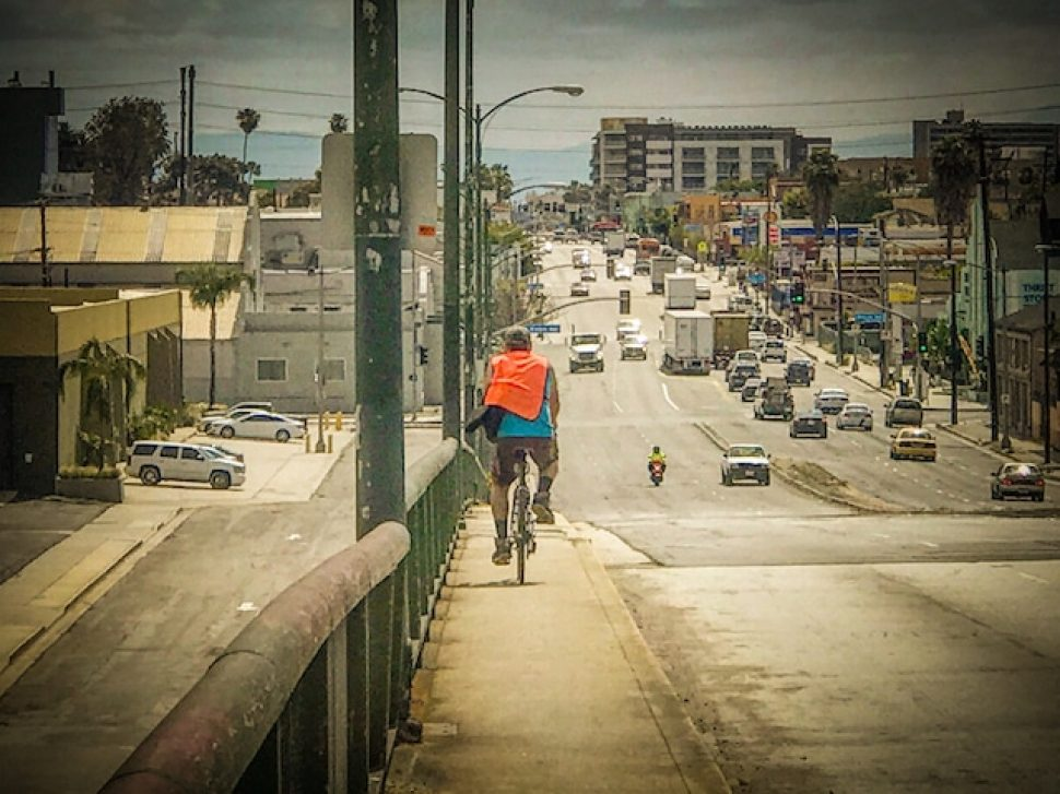 Bicyclists and pedestrians face dangerous conditions trying to cross main arterials from West Long Beach and over the 710, as seen here. Photo by Brian Addison.