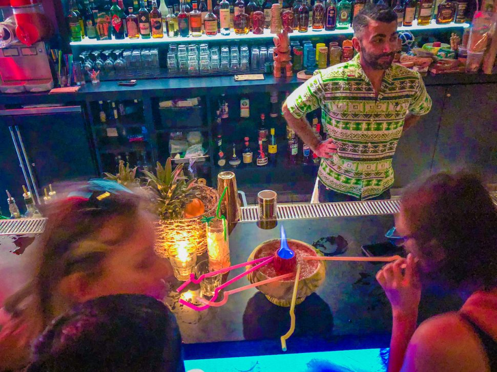 Sherwood Souzankari greets patrons at Tikitiki, Beer Belly's hidden bar. Photo by Brian Addison.
