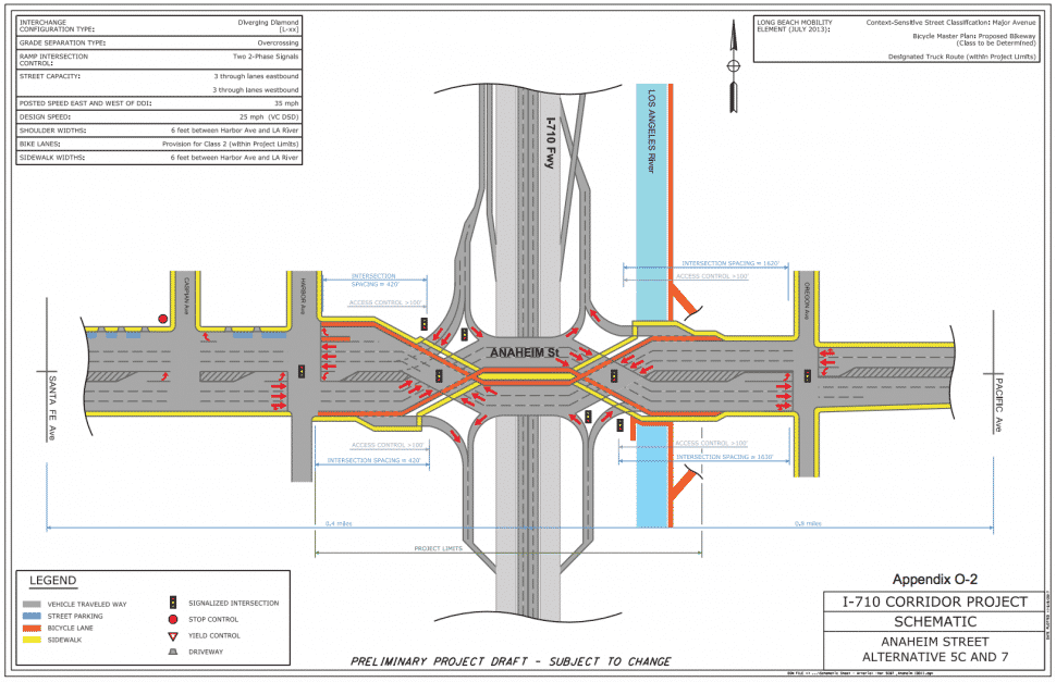 Above: a diverging diamond configuration for Anaheim Street in Long Beach. Courtesy of Caltrans.