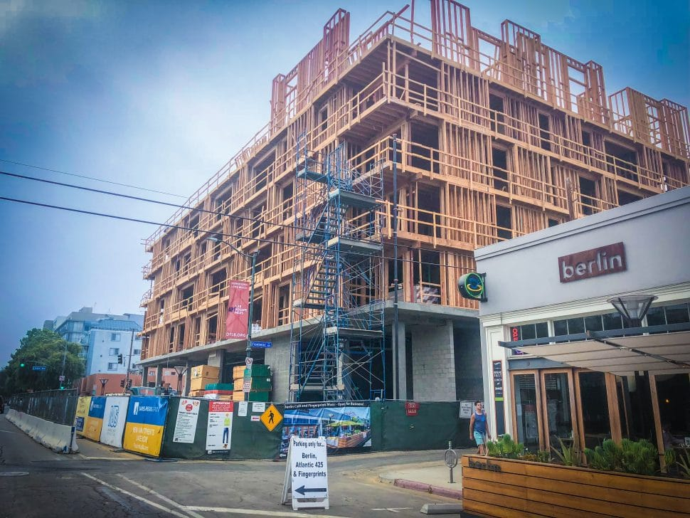 Work continues on The Linden, a 49-unit mixed-use complex in DTLB. Photo by Brian Addison.