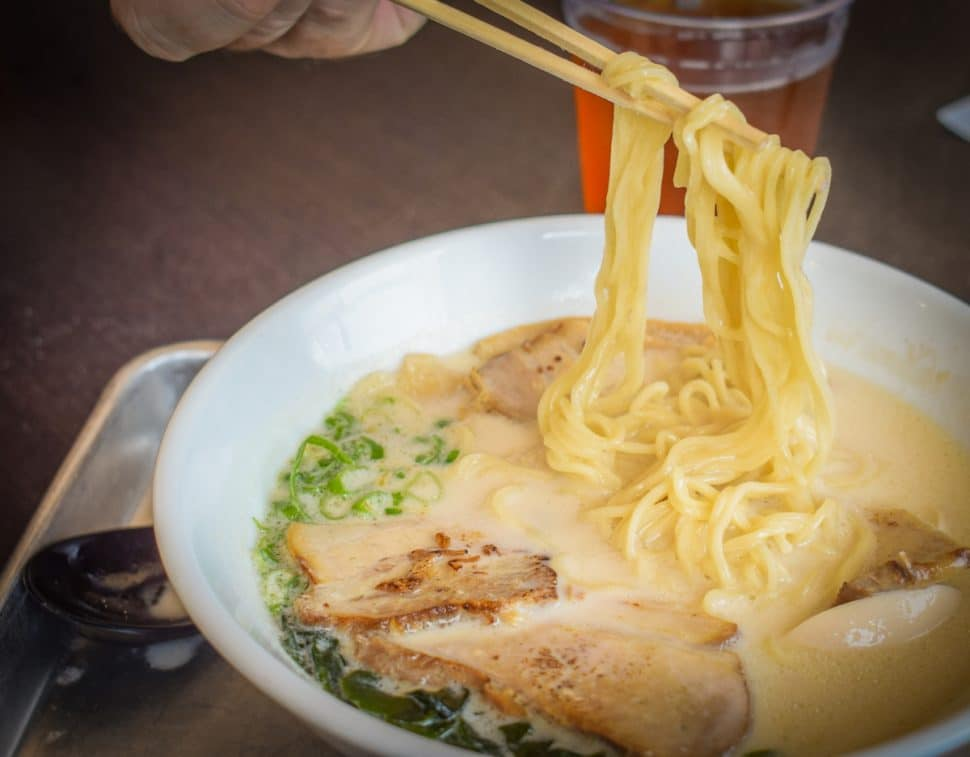 Ramen Hub, located in the Bixby Knolls neighborhood of Long Beach, and their Hakata ramen. Photo by Brian Addison.