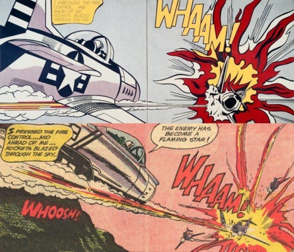 Roy Lichtenstein's _Whaam!_ (top) and Russ Heath's work from _All-American Men of War #89_.