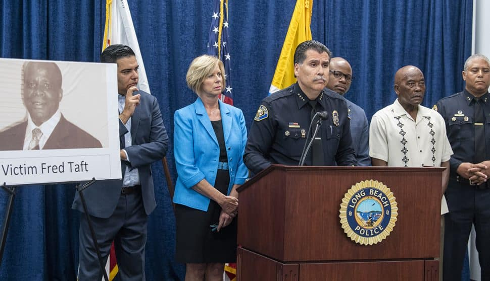 LPBD Chief Robert Luna speaks as the Long Beach Police Department held a news conference to request the public's help and announce the anticipation of a reward being issued in his killing at Pan American Park in Long Beach, Sept. 4, 2018. Photo by Thomas R Cordova.