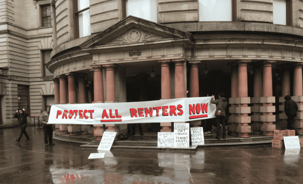 Protestors stand outside Portland's City Hall in February of 2018. Courtesy of Oregon Live.