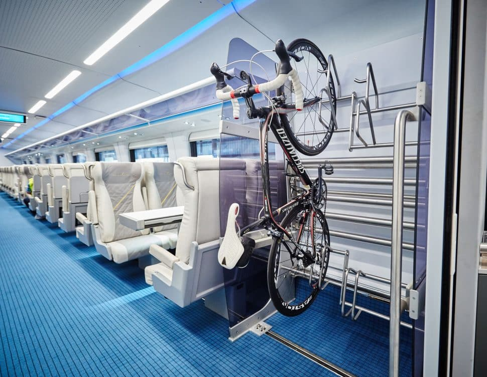 The interior of Brightline's Florida rail carts that runs from Orlando to Miami. Courtesy of Brightline.