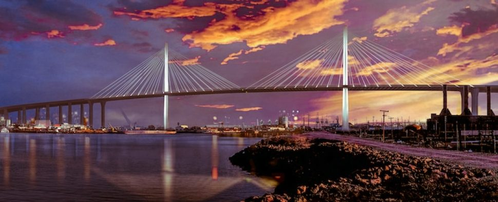 A rendering of what the new Gerald Desmond Bridge will look like upon completion. Courtesy of Port of Long Beach.