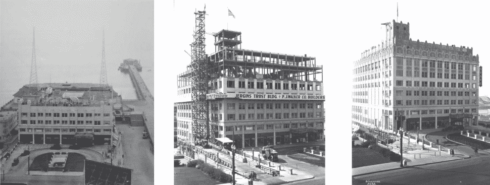 Each phase of the Jergins Trust Buidling, including its original state in 1919 [left], construction during 1925 [center], and completion in 1928 [right]. Courtesy of the Los Angeles County Public Library.