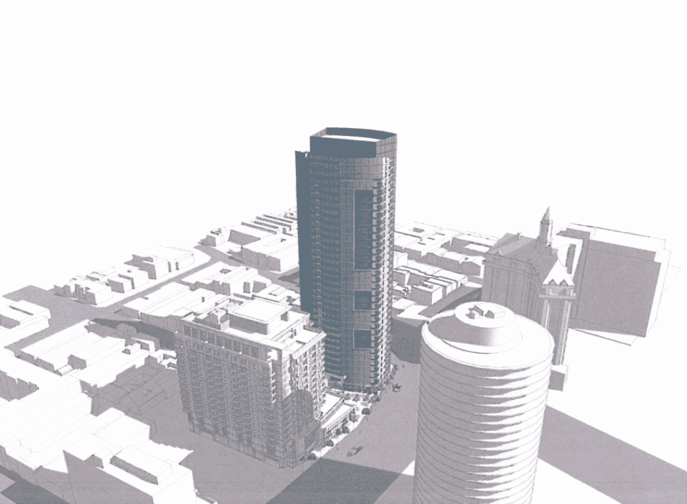 This rendering shows the scale of the Shoreline Gateway's east tower compared to other Long Beach landmarks, like the Villa Riviera. Courtesy of A rendering of the Shoreline Gateway's east tower (right) next to The Current (left). Courtesy of Anderson Pacific LLC.